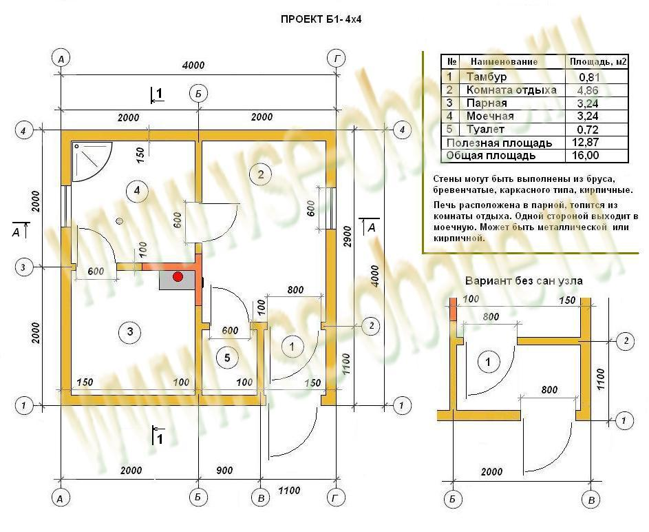 Проект бани 4х4