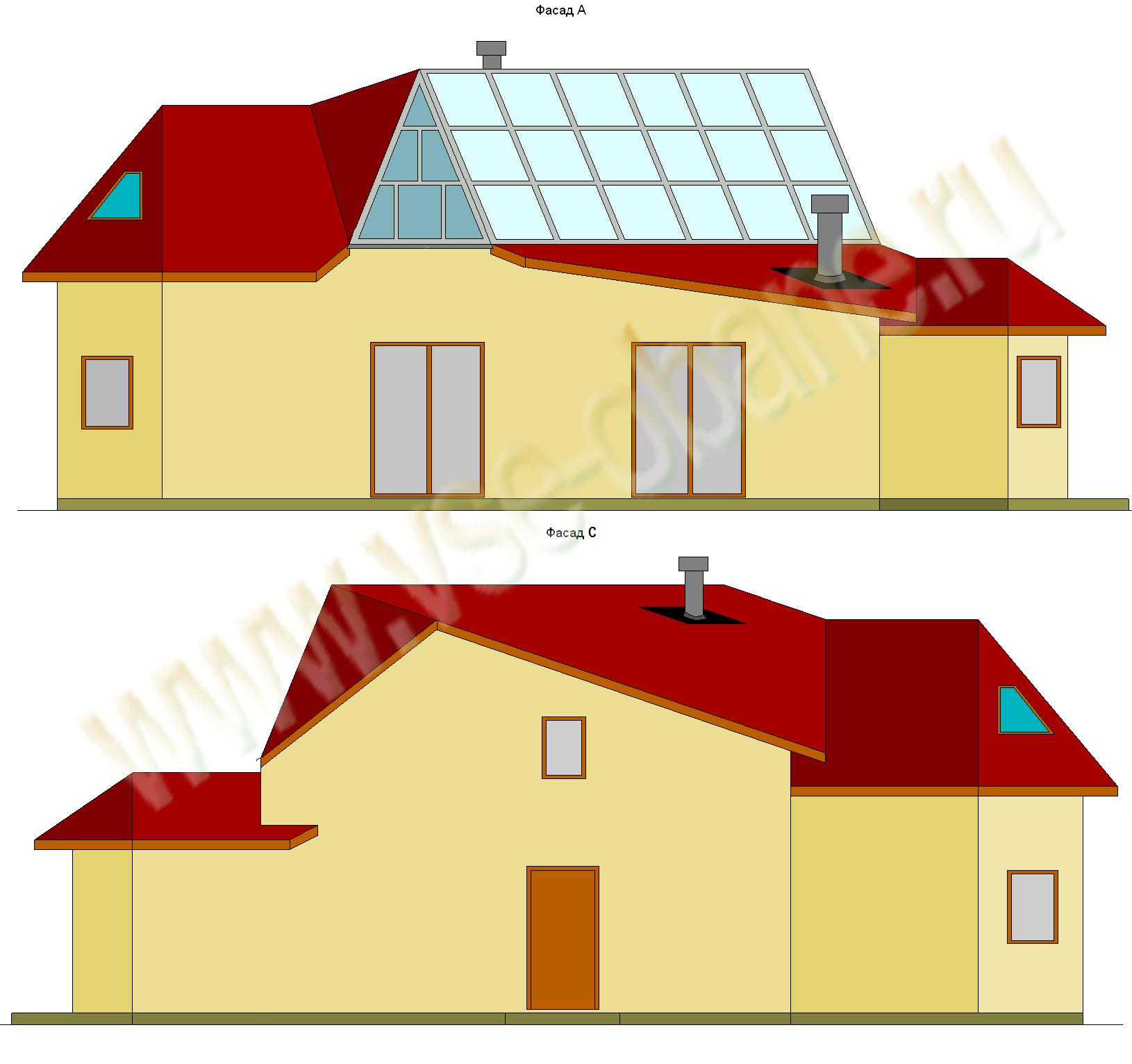 Концепт-проект бани Алмаз фасады A и C